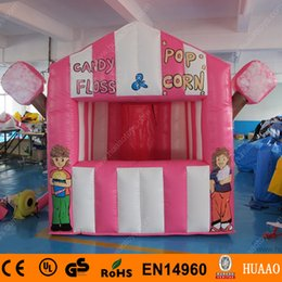 Wholesale Inflatable Candy - Wholesale-ree Shipping PVC Candy Floss and Pop Corn exhibition inflatable booth with free blower and repair kit