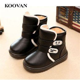 Wholesale Girls Cheap Patent Shoes - Snow Boots Kids Cotton Boots 2017 Koovan Autumn Winter Little Boy Girl Shoes Cheap High Quality Soft Bottom Size 24-35 K 061