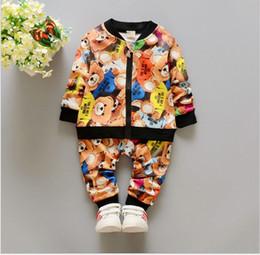 Wholesale Small Suit Coat Children - Small Baby Boys Spring Clothing Sets 2016 New Children Cartoon Bear Zipper Coats+Pants 2pcs Set Kids Outfits Fashion Boy Suits 4sets lot