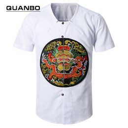 Wholesale Traditional Chinese Robes - Wholesale-Plus size traditional chinese shirt 2016 New imperial robe Short-sleeved shirt white linen shirts men flimsy Collarless camisa