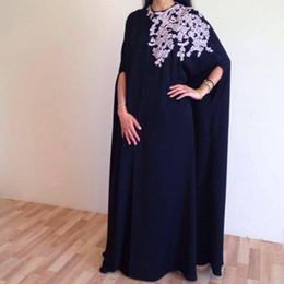 Wholesale Green Silk Petals - Vintage Arabic Nark Navy Sheath Evening Dresses 2016 High Neck White Lace Appliques Floor Length Prom Dresses Formal Party Gowns Vestidos