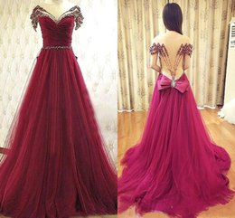 Wholesale Nude Rhinestone Long Sleeves Dresses - 2016 Burgundy Evening Dresses Sheer Neck Short Sleeves Long Formal Prom Dresses Crystals Rhinestones Beads Cheap Custom Made Gowns BO5742