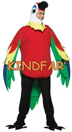 Wholesale Mascots Costumes Parrot - Wholesale-New PARROT Tropical Bird Funny Mascot Halloween Costume Adult Fancy Dress Cartoon Outfit Suit Free S