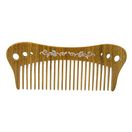 Wholesale natural handicrafts - Wood Pocket Comb Hair Care Styling Tool Natural Hnamde Green Sandalwood Fine Tooth Carving Hair Comb Massage Hair Brush Comb Gift Handicraft
