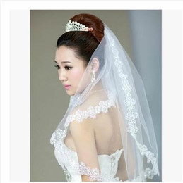 Wholesale Embroidered Bridal Dresses - Luxury Bridal Veil 2 Layer Ivory 2.7*1.55m Lace Applique Bridal Accessories For wedding dresses