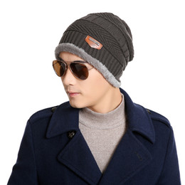 Wholesale Gray Woolen Cap - Wholesale-Korean Hip-Hop Winter Men's Elastic Knit Boy Woolen Hedging Hat Velvet Cap Gift Khaki Red wine Dark gray 6colors