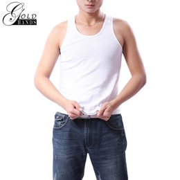 Wholesale Cheap Cotton Tank Tops - Gold Hands New Men Cotton Tank Tops Plus Size Casual Print Cheap O-Neck Broadcloth Thin Undershirts Male Tanks Solid Color