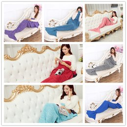 Wholesale Wholesale Crochet Bags - Adult Mermaid Tail Blanket Soft Hand Crocheted Sofa Blanket Mermaid Tail Sleeping Bags air condition blanket 180*90CM B0724