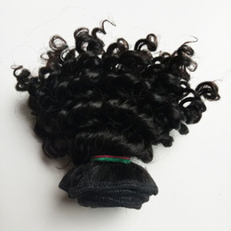short curly human hair weave Promo Codes - Brazilian virgin human Hair weft short 8-12inch Kinky curly hair Cheap Factory wholesale price European Indian remy human hair extensions