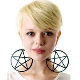 Wholesale Large Round Fashion Earrings - Fashion Earrings for women Pentagram large round earrings exaggerated nightclub earrings free shipping