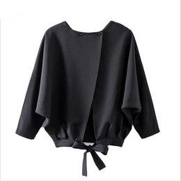 Wholesale Black Linen Blouse - 2017 Woman Shirts Batwing Sleeve Bow Split Blouses Casual Spring Ladies Streetwear Long Sleeve Black Blouse