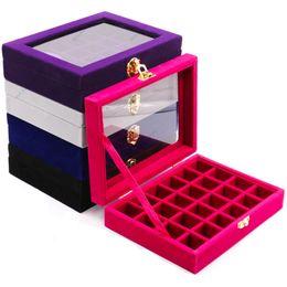 Boîte transparente en plastique en Ligne-Transparent En Plastique Divisé Boîte De Stockage 24/28 Grille Bijoux Strass Perle Cas Décoration Accessoire Pilules Conteneur Titulaire
