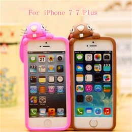 Wholesale Rabbit Iphone 4s - 3D Cartoon Rabbit Case Soft Silicone Rubber Shockproof Protecter Cover For iphone 4s 5s se 6 6s plus 7 7 plus