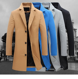 Wholesale Man Long Trench Coat - 2016 autumn and winter fashion new men leisure slim trench coat   Men's long sleeve young man dust coat size M-5XL FY091