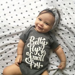 Wholesale Grey Baby Jumpsuit - Cotton Newborn Baby Boys Girls Bodysuit grey kids boy girl Romper high quality children pretty fly letter print Jumpsuit Clothes top Outfits
