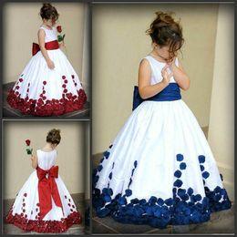 2019 juwel schiere zurück weiße blume mädchen 2019 niedliche Blumenmädchenkleider Hochwertiges bodenlanges Kleid für besondere Anlässe mit Schleife hinten Mädchen-Festzugskleid