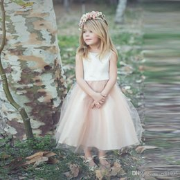 Wholesale Christmas Bows For Sale Cheap - Hot Sale Dresses For Girls Tulle Skirt Satin Top Pageant Gown Sleeveless Cheap Flower Girl Dress With Bow