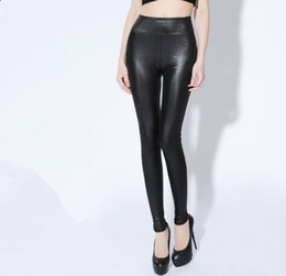 Wholesale Super Slimming Leggings - 2017 Hot Selling Plus Size Fat Leggings Autumn Women High Waist Imitated Leather leggings Capris Female Pants Skinny ,Slim Boot Cut Super St