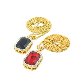 Wholesale 3mm Silver Necklace Chains - Mens 18K Gold Plated Iced Out Ruby Octagon Pendant Necklace with 2.5*4.5cm and 3mm*24
