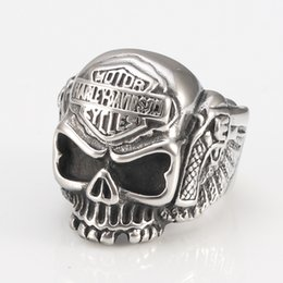 Wholesale Skull Rings Lady - European stainless steel HARLEY RIDER Cool Skull Punk Davidson locomotive male Ladies Ring