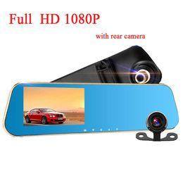 Wholesale Dual Camera Dash Cams - Full HD 1080P Car camera car DVR dual dash cam car-detector tachograph with blue review mirror digital Video registrator car