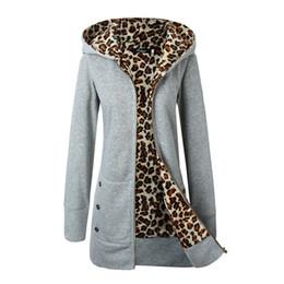Wholesale Woman Leopard Fleece Jackets - Wholesale- 2016 Popular Leopard Lined Slim Long Fleece Basic Jacket Women Basic Coats Winter Warm Women Hoodied Veste femme Chaquetas Mujer