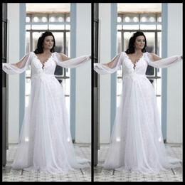 Wholesale Drop Waist Wedding Dress Chiffon - Beautiful Plus Size Wedding Gowns 2016 Ivory Beach Cheap V Neck Lace Bodice Empire Waist Flowing Chiffon Long Bridal Gowns with Long Sleeve