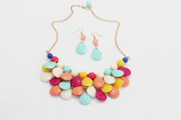 Wholesale Bubble Bead Necklaces - Bubble Bib Necklace Teardrop Statement choker Bubble resin Necklace Colorfull Resin Bead Necklaces with Earring Set