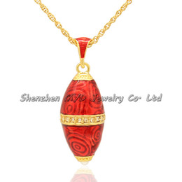 Wholesale Eggs Bullets - Stylish women jewelry pearl bullet necklace colorful enamel egg shaped design Russian style Faberge egg pendants for ladies