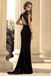 Wholesale Sexy Evning Dresses - 2016 Cheap Black Open Back Sequined Vestido Party High Neck Evening Dresses Gowns Vestido De Festa Long Mermaid Evning Dress