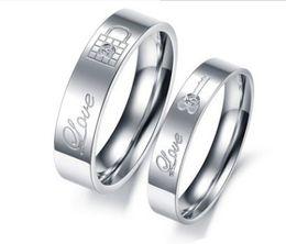 Wholesale Rhinestone Locks - MCW Sweethearts & Lover's Style Wedding Band Rings Titanium Steel Lock & Key Pattern Rhinestone Forever Love Ring for Engagement Jewelry