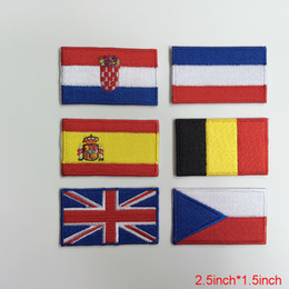 """Emblème national en Ligne-Drapeau de la nation emblème patch brodé Applique CZECH National Pays Coudre Garniture 2.5 """"Wx1.5"""" H livraison gratuite"""