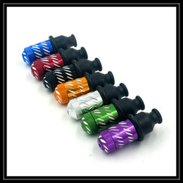Wholesale Carved Smoking Pipes Wholesale - Wholesale Mini Nipple Shape Tobacco Smoking Metal Pipe Snuff Tube Click N Vape Sneak a Toke Pipes with Engraved Carved Design Colors
