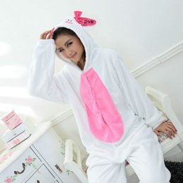 Wholesale Rabbit Onesies - New Cute Animal White Rabbit Lovely Fleece Full Sleeves Hooded Female lovely Sleepwear