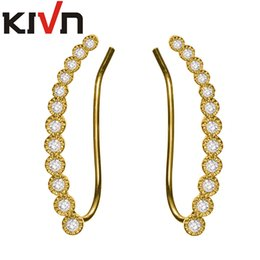 Wholesale Rhodium Plated White Gold - KIVN Fashion Golden Jewelry CZ Cubic Zirconia Long Ear Cuff Ear Crawler Climber Earrings for Women Mothers Day Birthday Christmas Gifts