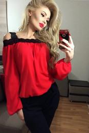 Chemises de dentelle bon marché livraison gratuite en Ligne-Nouvelle Arrivée Rouge En Mousseline de Soie Noire Dentelle Lâche Lady Blouses Belle Manches Longues Réel Image Femmes T Shirts Pas Cher Livraison Gratuite