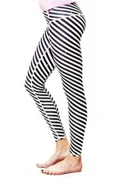 Wholesale Fitness Motion - Wholesale-2016 New Fashion super elastic motion Women's Running Pants Fitness Black and white striped trousers compression tights women
