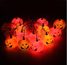 Wholesale Pumpkin Led Lights - 16 pumpkin led string lights Halloween Orange Pumpkin led lights ghost led fairy lighting 220V wholesale