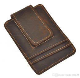 Wholesale Mini Top Hot - Top Quality Credit Card ID Holder Simple Design Magnet Men Wallet Money Clip Crazy Horse Leather Hot Sales Design European And American