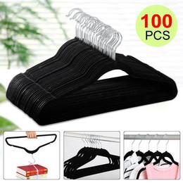Wholesale Metal Pants Hangers - 100P Flocked Non Slip Velvet Black Clothes Suit Shirt Pants Hangers Set