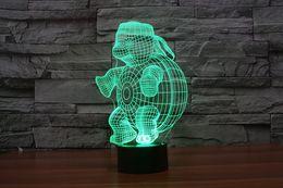 Wholesale Tortoise Night Lamp - 2016 tortoise turtle 3D Night Lamp Optical Night Light 9 LEDs Night Light DC 5V Factory Wholesale hot