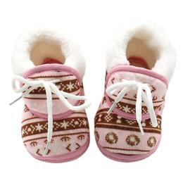Wholesale Baby Shoes Vintage - Wholesale- Winter Vintage Pattern Baby Warmer Fleece Toddler Kids Boy Girls Soft Cotton Lace Up Shoes 6-12M