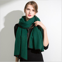 Wholesale Long Double Sided Shawl Wrap - High Quality 100% fleece wool kerchief Cashmere Winter Scarf Women Elegant Women Double sides Long Scarf Warm Cashmere