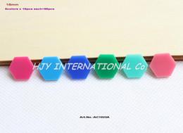 Canada Gros- (6colors, 96pcs / lot) 16mm perles hexagonales assorties pour boucles d'oreilles Rose foncé, Aqua, bleu, vert, Turquoise, rose 0,6