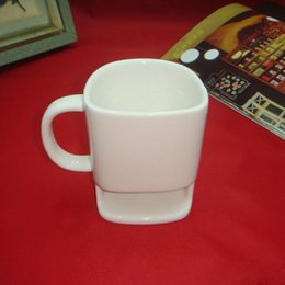 Wholesale White Ceramic Cups - 48pcs 250ml Ceramic Coffee Cup Side Cookie Biscuit Pocket Holder Milk Juice Lemon Mug Drinkware For Friend Birthday Gift ZA1255