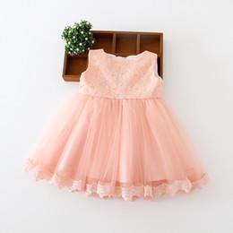 Festa de verão roupas de baile princesa dos miúdos roupas roupas de menina do bebê vestido de noite princesa crianças one piece-vestidos de renda sem mangas bowtie de Fornecedores de trajes de festa de uma peça