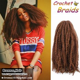 Wholesale Afro Kinky Braiding Hair - 30Roots Crochet Marley Braids Hair 18'' Afro Kinky Soft Twist Ombre Hair Extensions Low Temperature Fiber for black women