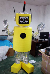 Wholesale Yellow Robot Cartoon - New Style Yellow plex robot mascot costume With adult size character cartoon costume party fancy dress