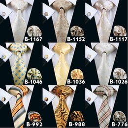 Wholesale Golden Knit - Wholesale Yellow Golden Mens Silk Pary Business Neck Tie Set Cheap High Quality Silk Ties For Men Free Shipping