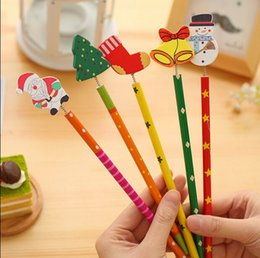 Wholesale Wholesale Wooden Pencils - Freeshipping!New Christmas Wooden Pencils Novelty Cartoon Stationery Wood Pencils Office&Study pencils Christmas Gifts Wholesale